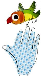 main oiseau collage